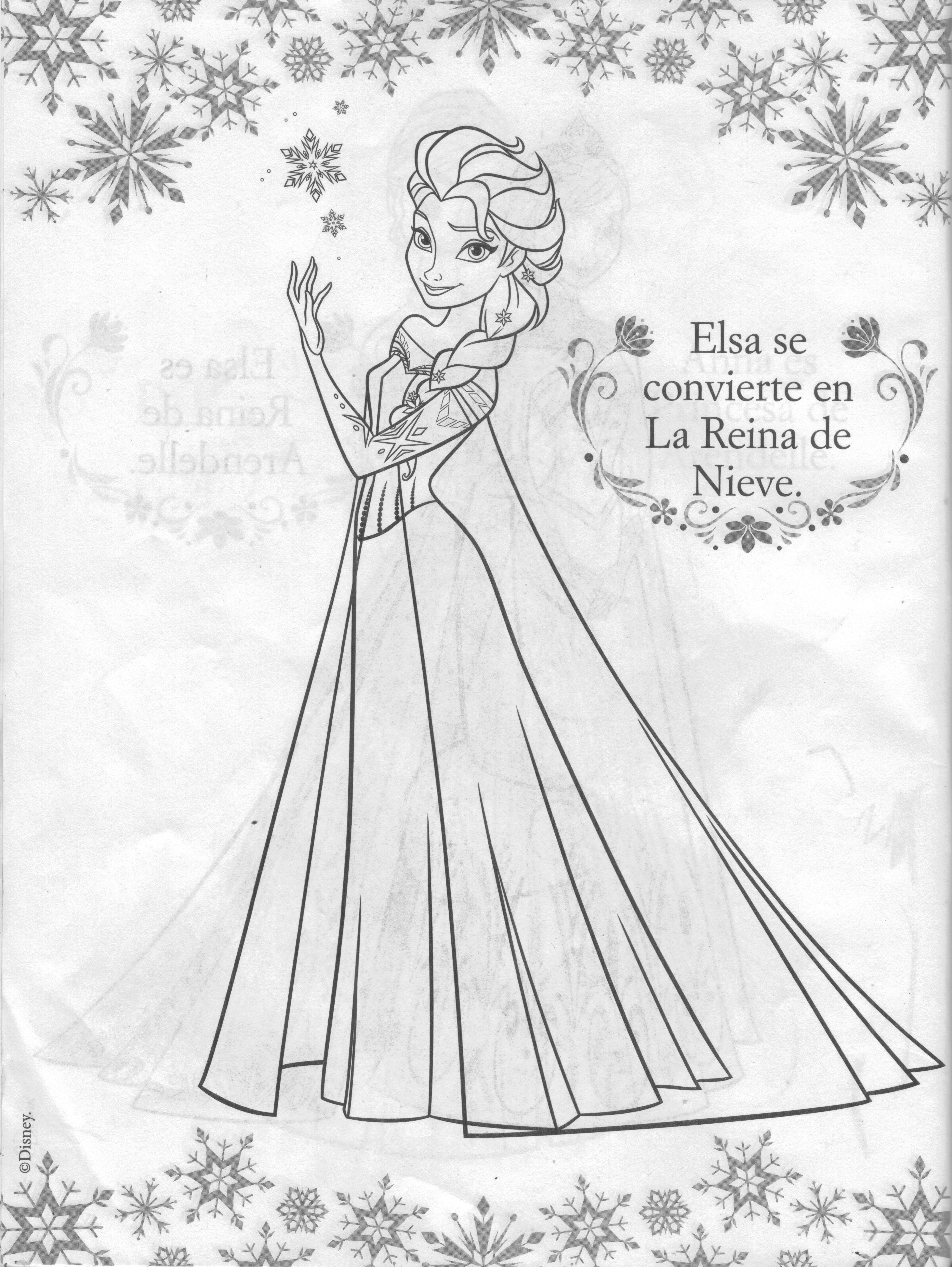 Famoso Princesa Para Colorear Páginas Congeladas Elsa Festooning ...