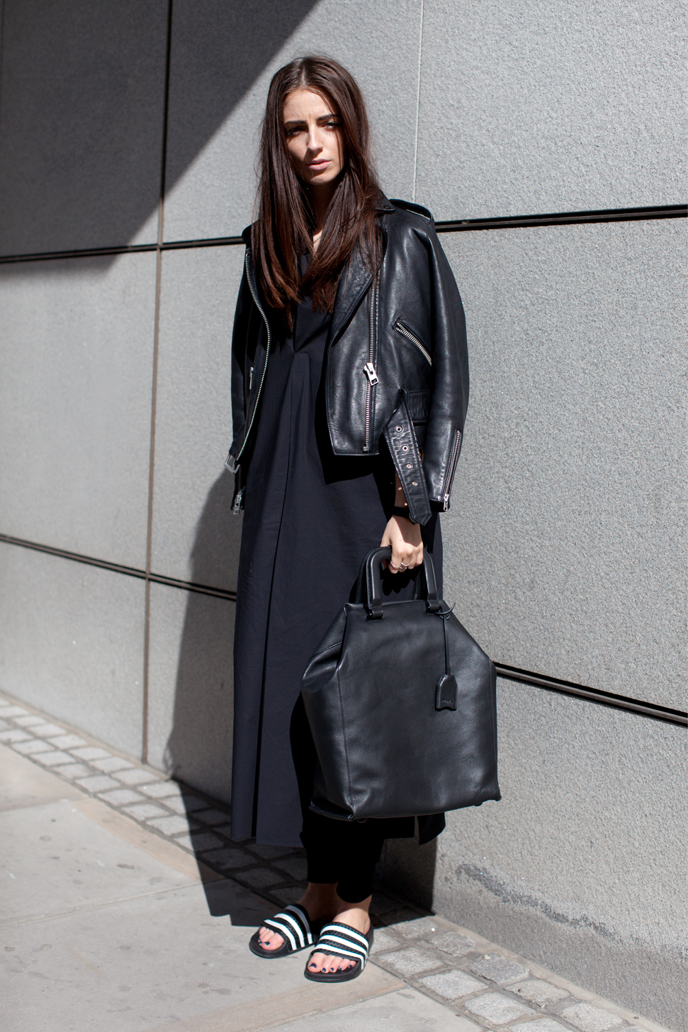 Black dress with adidas shoes - Studio Nicholson Tunic Dress Allsaints Leather Jacket Other Stories Joggers 3 1 Phillip