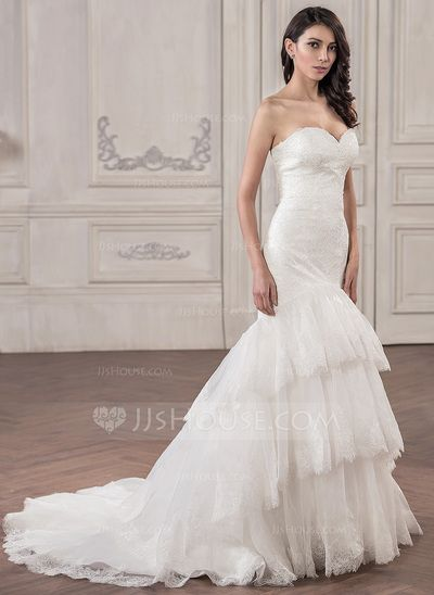 d07e7ad27e  US  299.99  Trumpet Mermaid Sweetheart Court Train Organza Lace Wedding  Dress