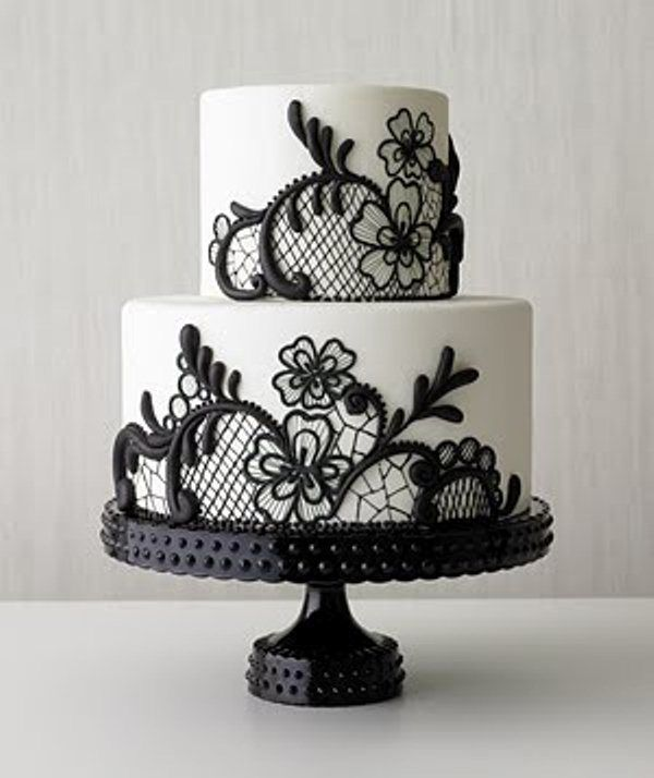 Black White Wedding Cake Love The Lace Look Would Be Great If You Went With Centerpieces