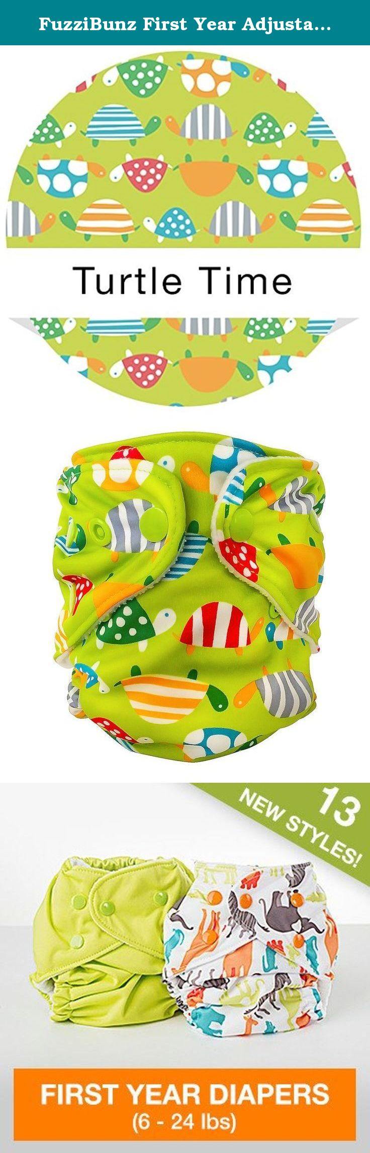 FuzziBunz First Year Adjustable Diaper, Turtle time, 6-24 Pound. Bridges the gap between the tiny newborn stage and the time when a baby can actually fits into a one size adjustable or perfect size medium/large diaper. Up to 30 plus adjustment settings: waist, rear, rise. Replaceable button-holed elastic to achieve perfect fits as your baby grows.