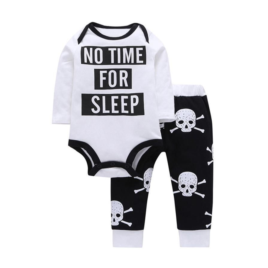 5991b4cc8 Newborn Infants Baby Gothic Skulls   Bones No Time For Sleep Romper ...