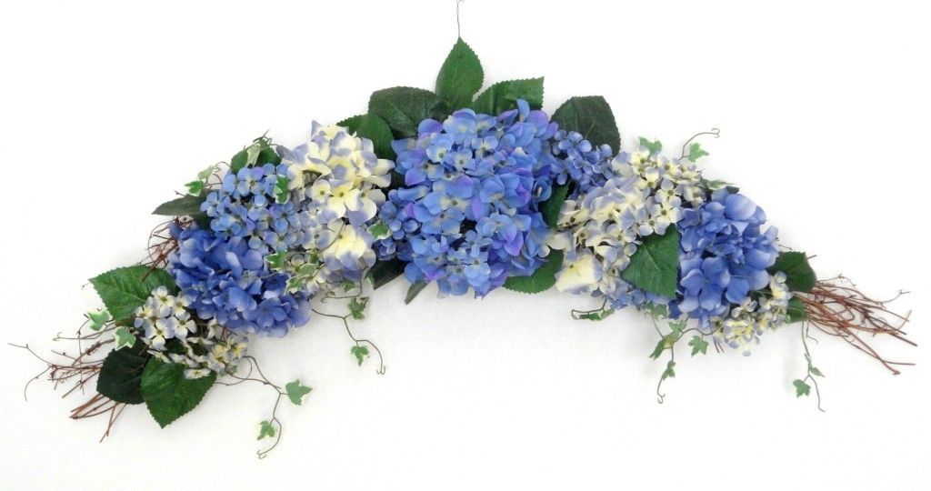 30 Blue And White Hydrangea Silk Flower Swag Ebay Floral Swag Silk Flowers White Hydrangea