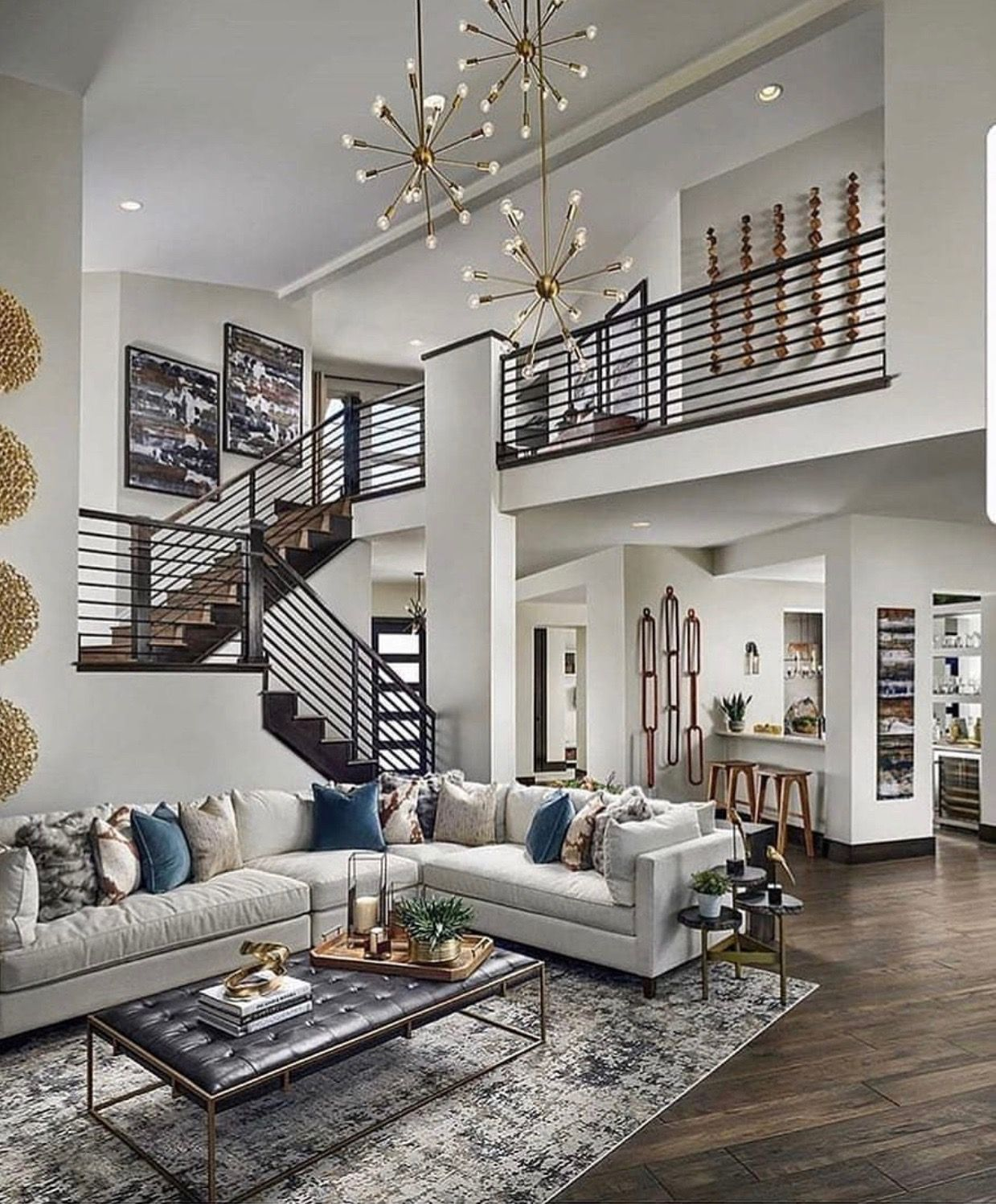 Love Most Of It Lol I Think The Giant Chains On The Wall By The Stools Are Over T Contemporary Decor Living Room Luxury House Designs Modern House Design