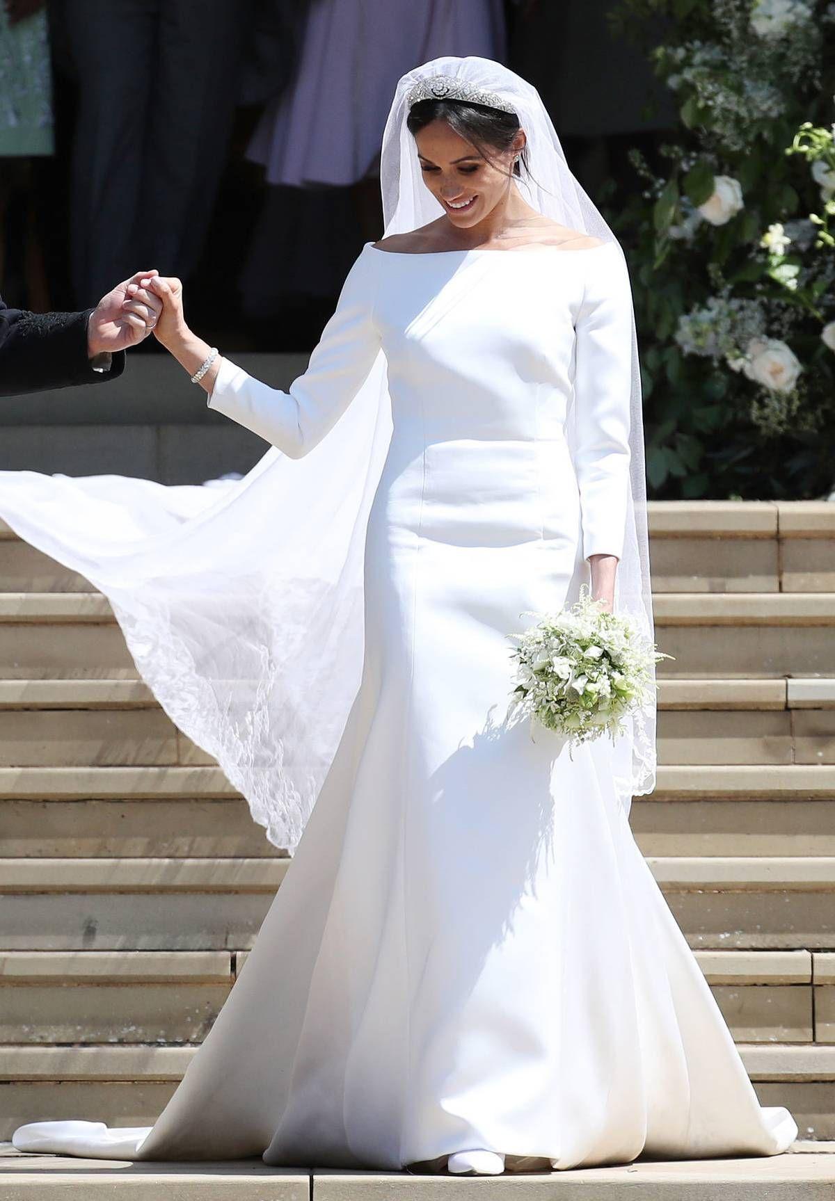 bce7c1dfa2 See Meghan Markle's Second Royal Wedding Dress | MyDomaine | Meghan ...