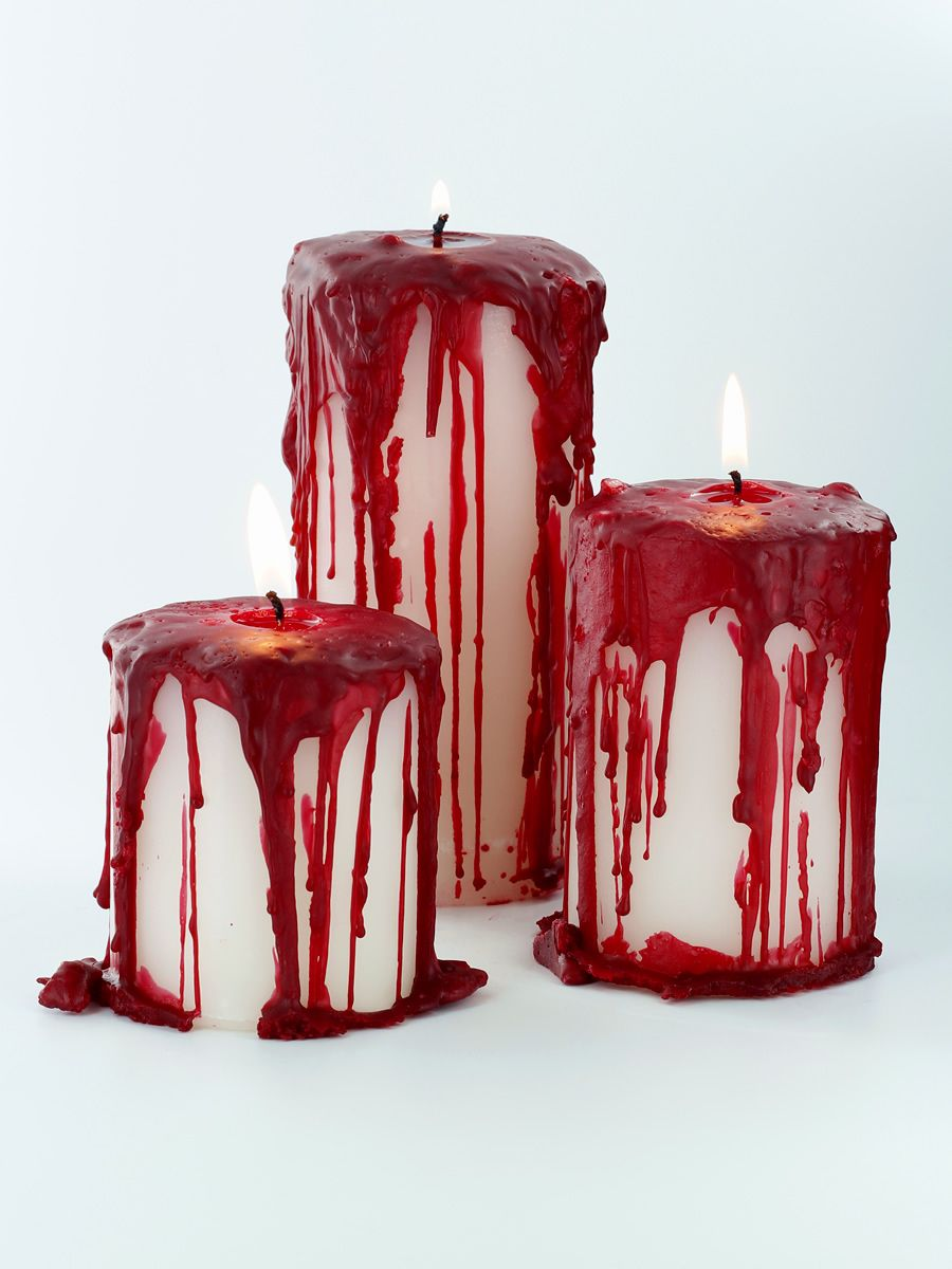 these bloody pillar candles will give the perfect spooky effect for halloween dcor - Bloody Halloween Decorations