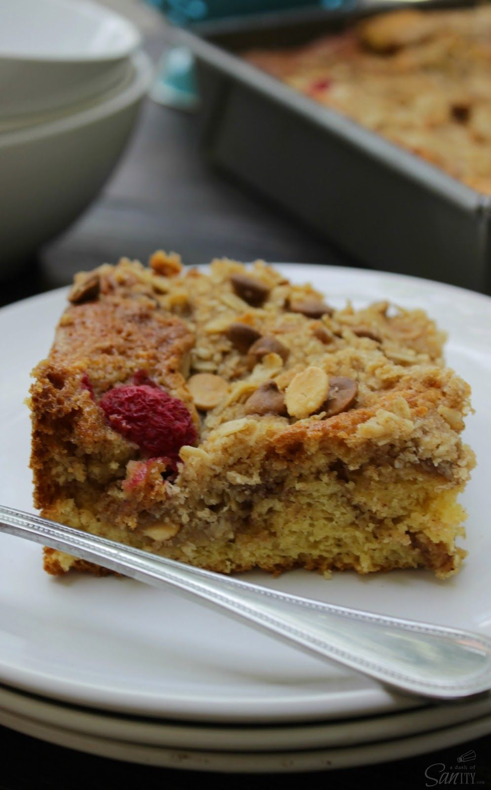 White Chocolate Raspberry Crumb Bake | Love Bakes Good Cakes