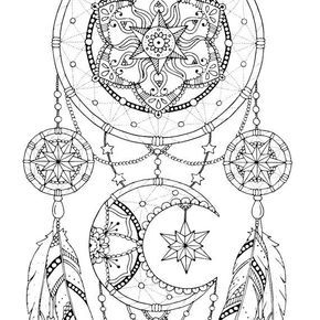 Dreamcatcher Coloring Pages Adult Book Printable For Adults Art Dream Catcher Print PDF Download