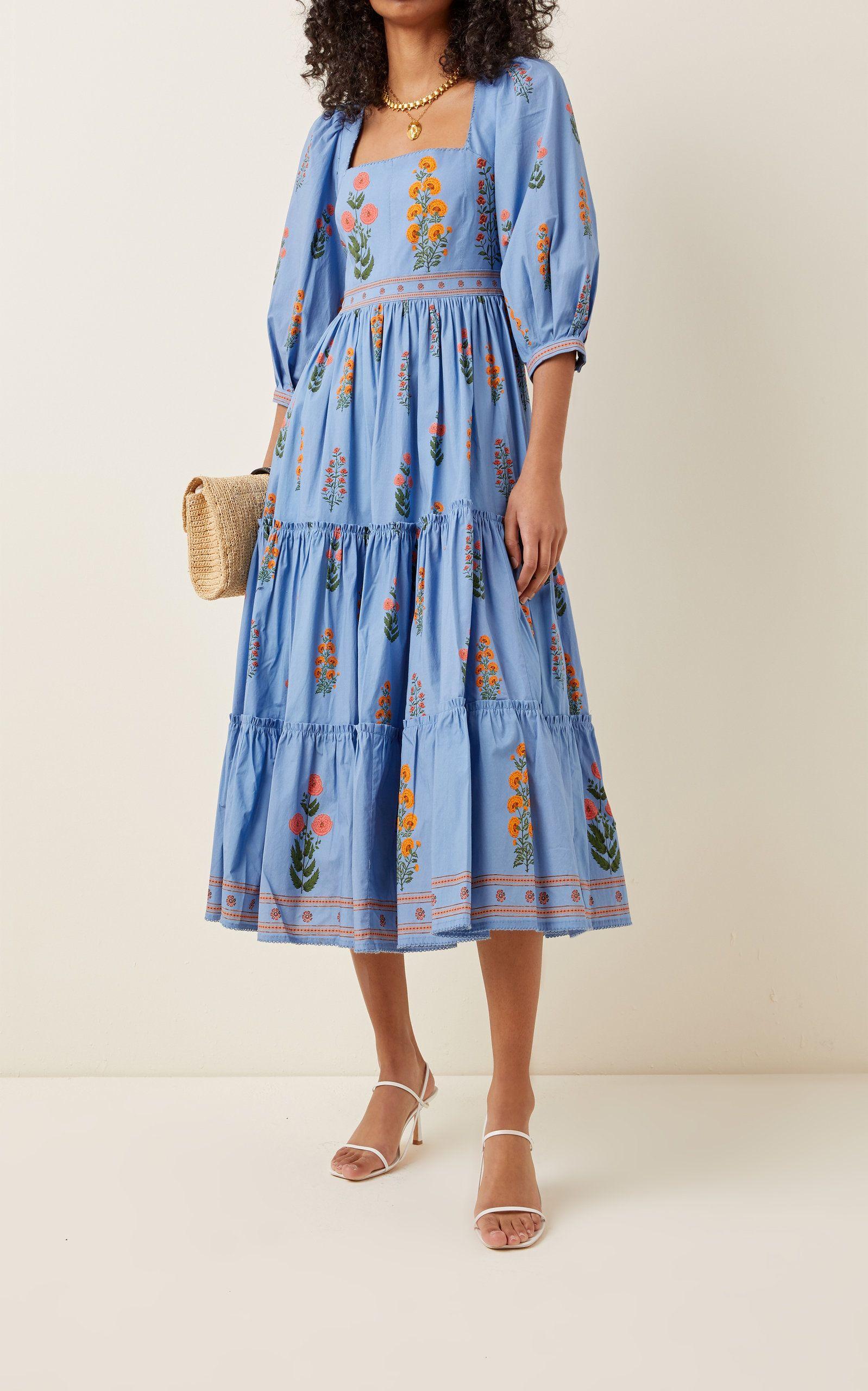 Miel Dahlia Cotton Poplin Midi Dress By Agua By Agua Bendita Moda Operandi In 2021 Cotton Dress Summer Midi Dress With Sleeves Midi Dress Casual [ 2560 x 1598 Pixel ]