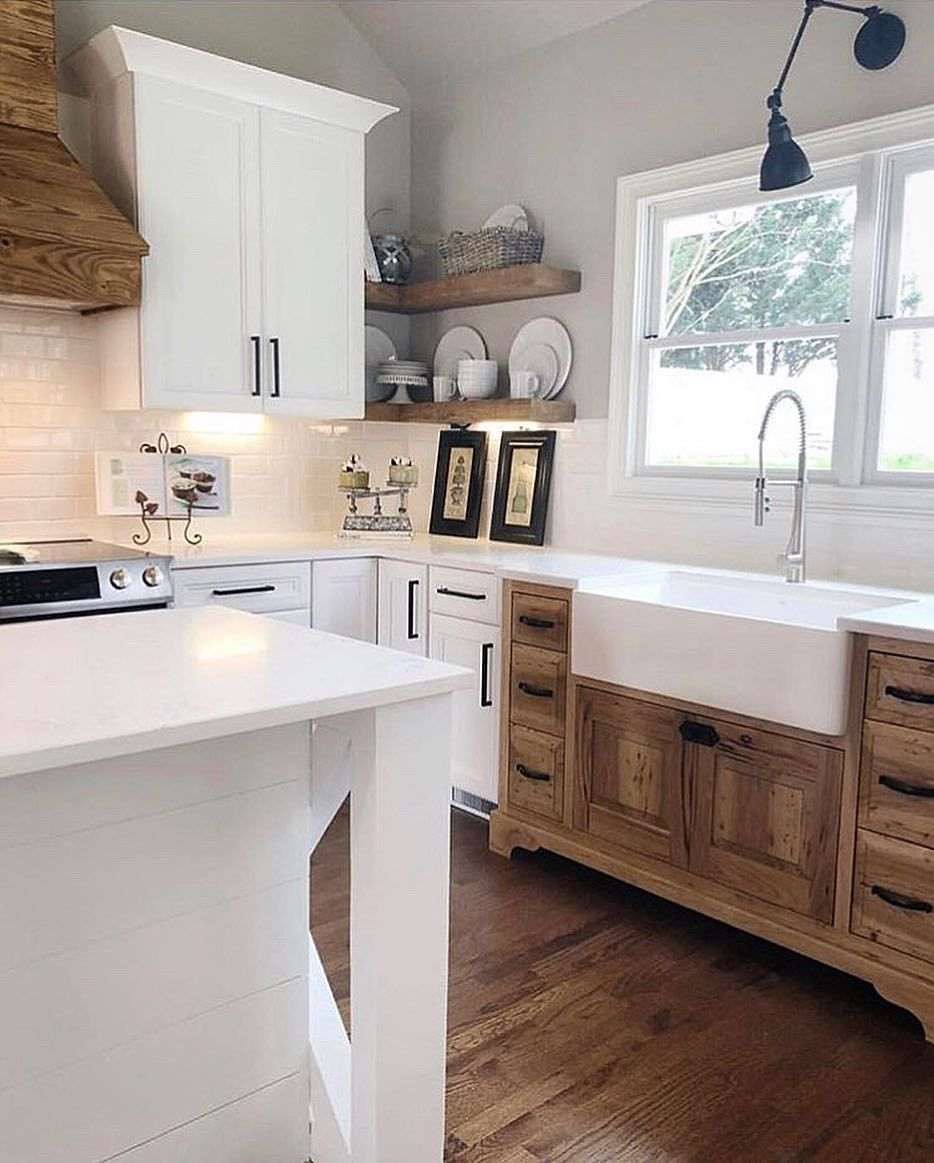White Farmhouse Sink Quartz Counter Tops Irish Cream Cabinets