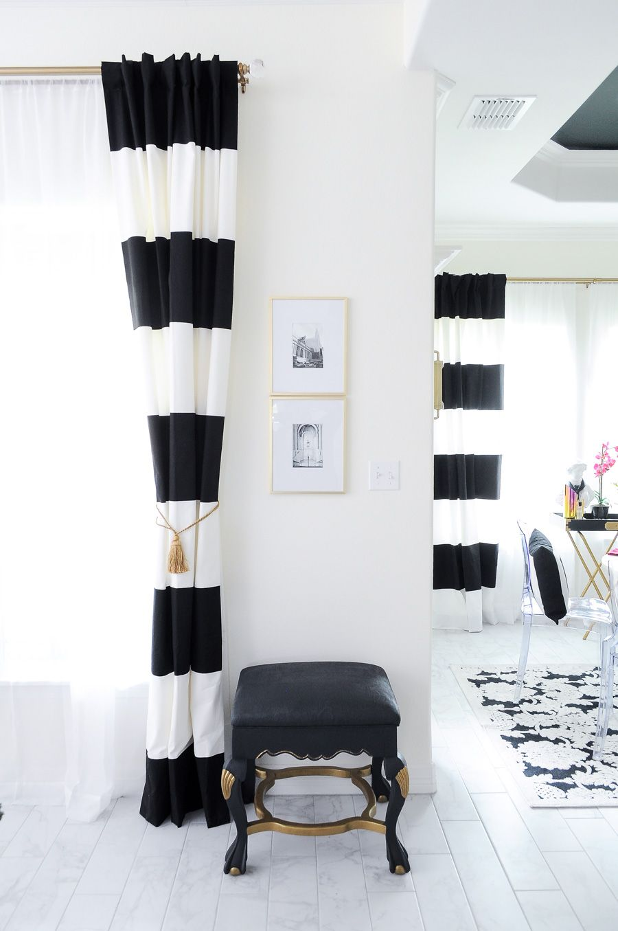 Floral Colorful Eclectic Spring Home Tour Monica Wants It In 2020 Stripe Curtains Living Room White Living Room Decor Black And White Living Room