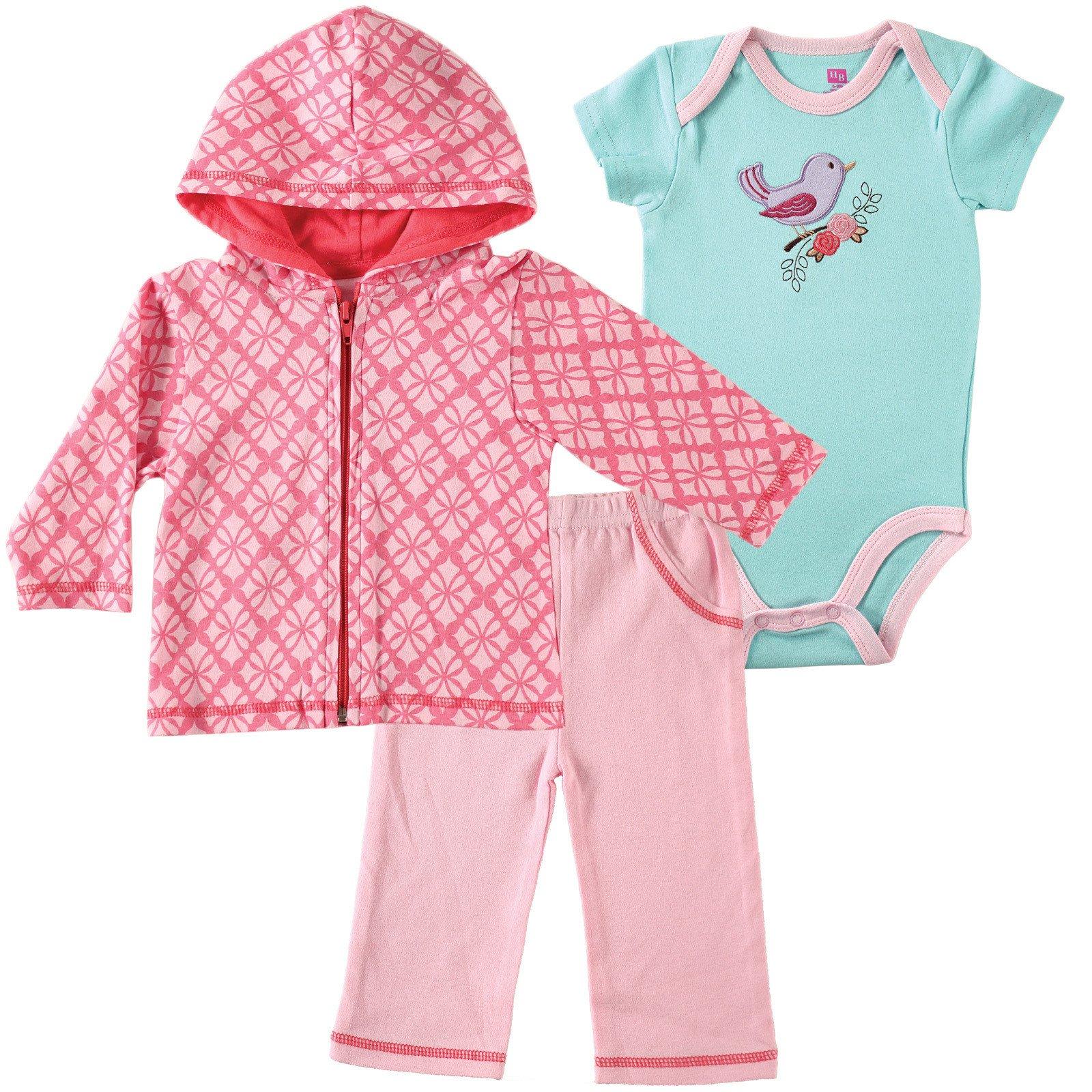 Hudson Baby Girls Hoo Bodysuit & Pant 3 Piece Set