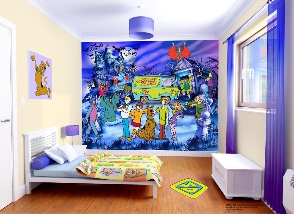 Bedroom Amazing Scene De Chambre Papier Peint Scooby Doo Design