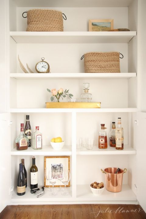 Get organized - convert a cabinet into an at home bar cabinet in ...