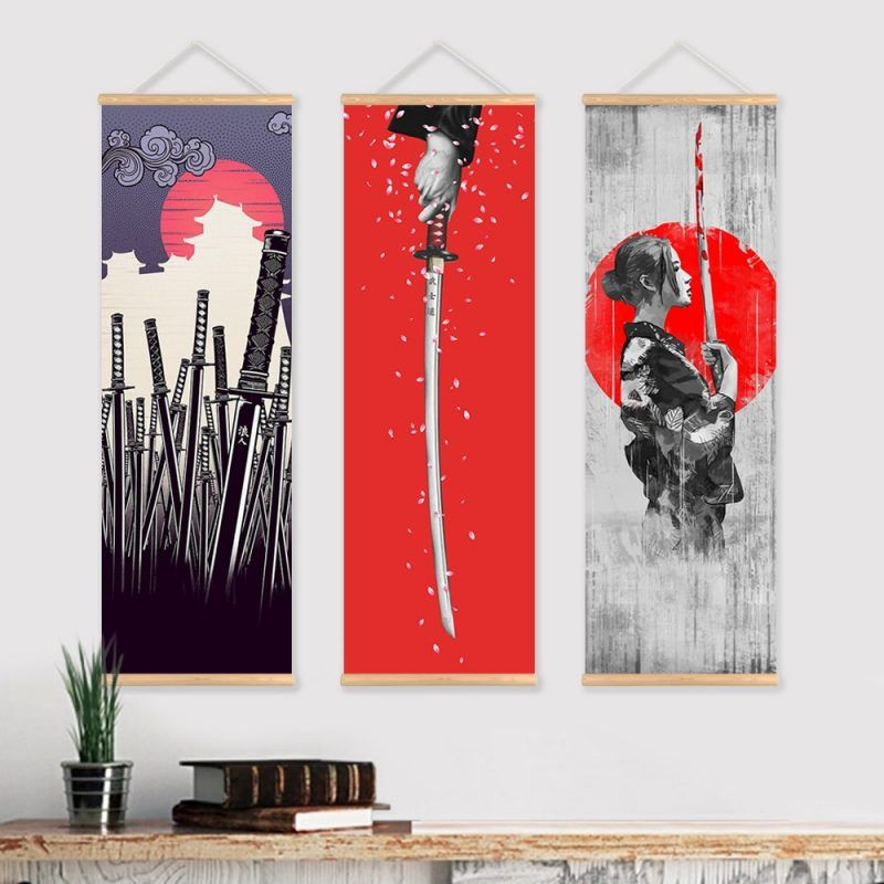 Japanese Samurai Scroll Painting Canvas Print Poster With Wooden