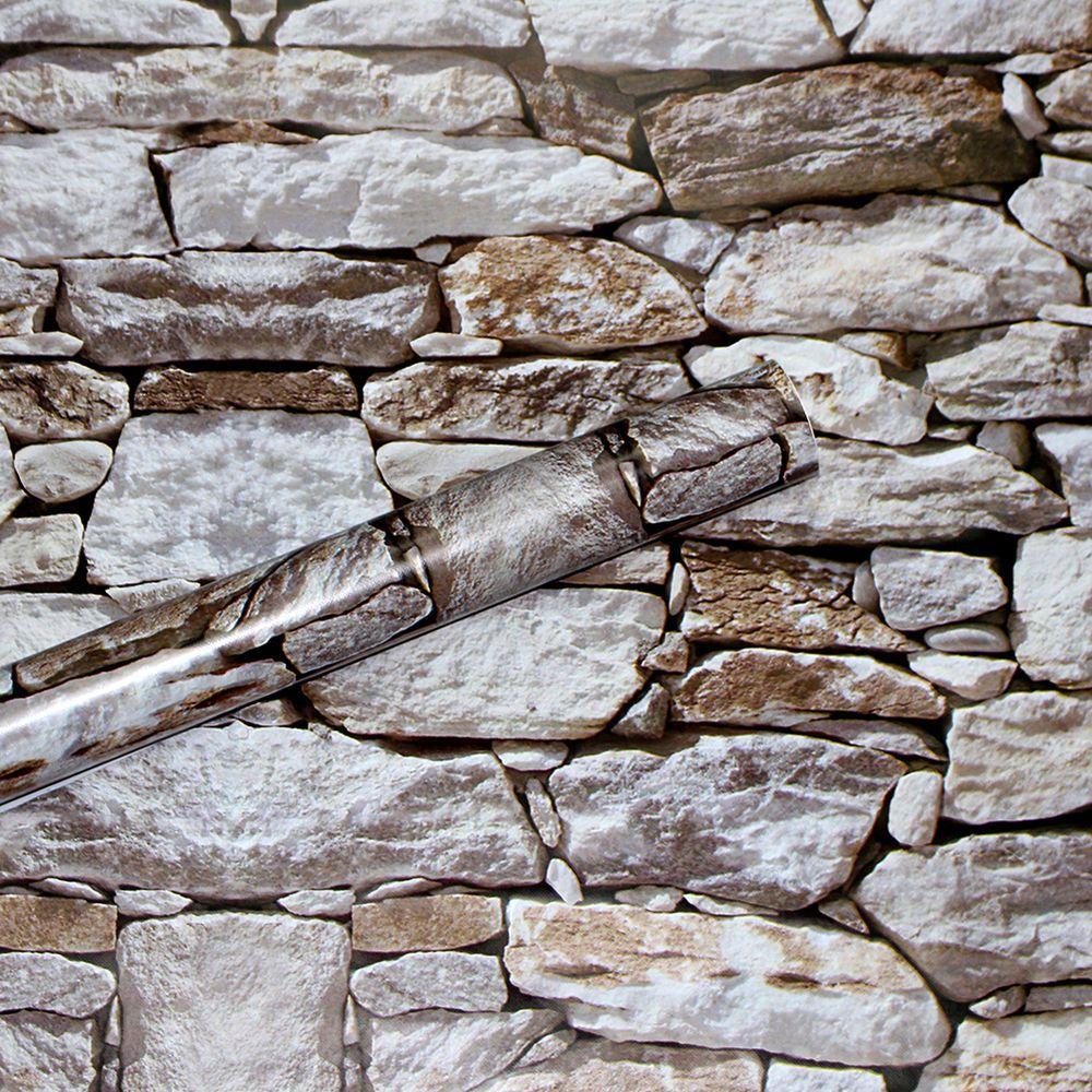 Brick Stone Wallpaper Haok Home Wallpaper Woods Wallpaper Modern Wallpaper Damask Wallpaper Self Adhesi Contact Paper Brick And Stone Wood Plank Wallpaper