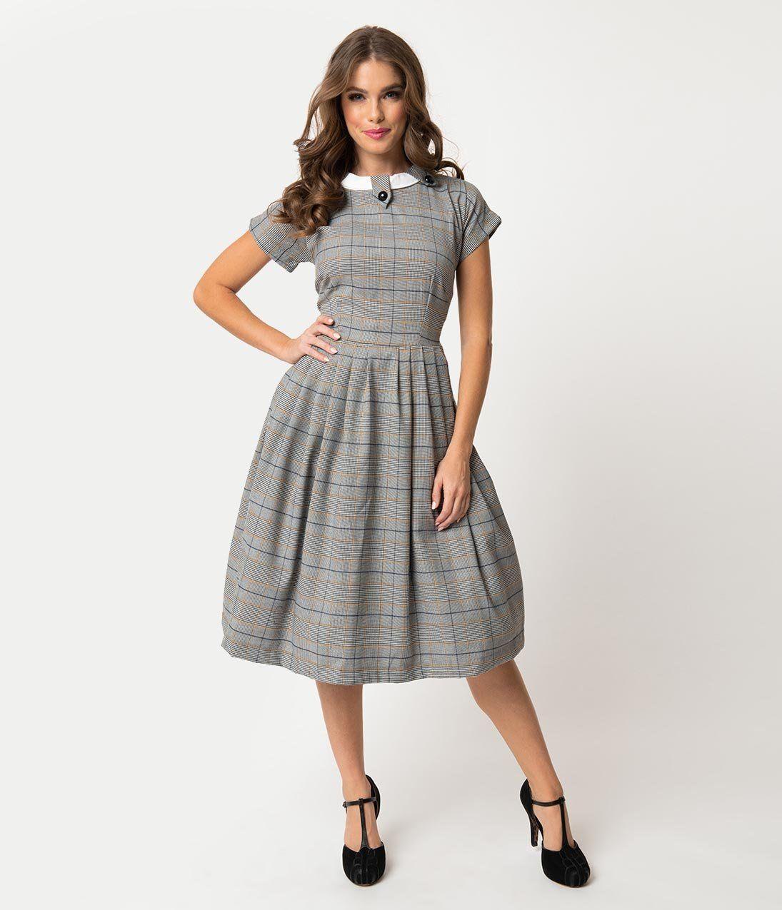Beatrice Short: Retro Style Grey Plaid Check Short Sleeve Beatrice Swing