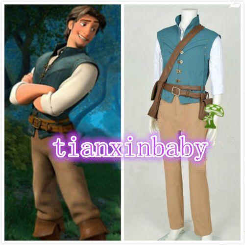 Hot!Tangled Rapunzel Flynn Rider Cosplay Costume Daily Hunting Full Set