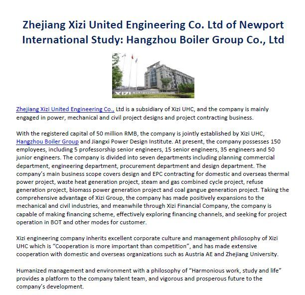 Zhejiang Xizi United Engineering Co Ltd Of Newport International Study On Hangzhou Boiler Group Co Ltd Zhejiang Xizi United Hangzhou Boiler Places To Visit