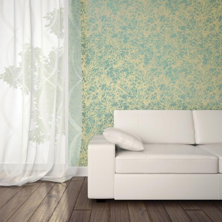 moderner, frischer Hauch für Wandgestaltung in Gold und Petrol ...