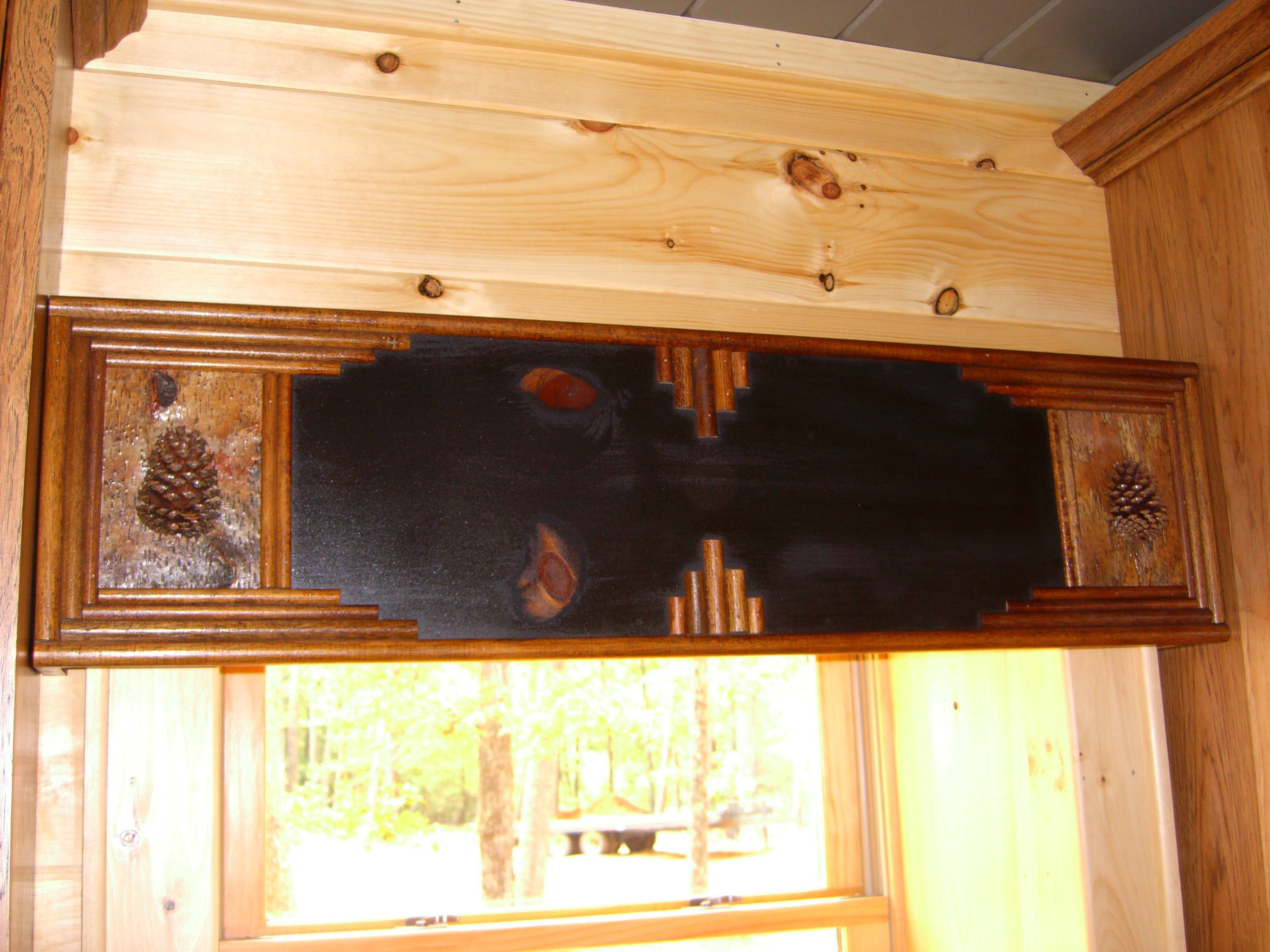 Black Cornice Board Made To Fit Between Cabinetry Of Kitchen For A Client Rustic Window Treatments Kitchen Cornice Rustic Window