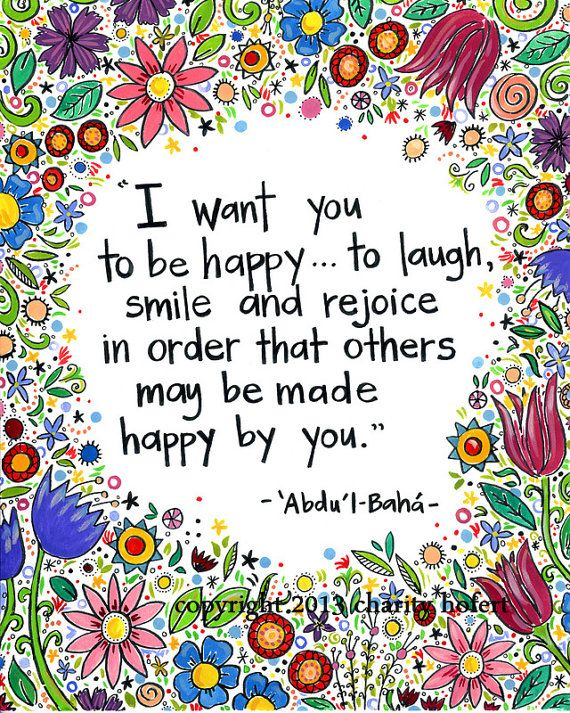"""Greeting Card Baha'i Quote """" I want you to be happy"""