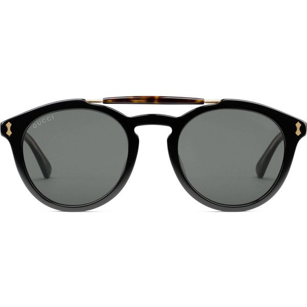 Gucci Round-Frame Acetate Sunglasses ($315) ❤ liked on Polyvore ...