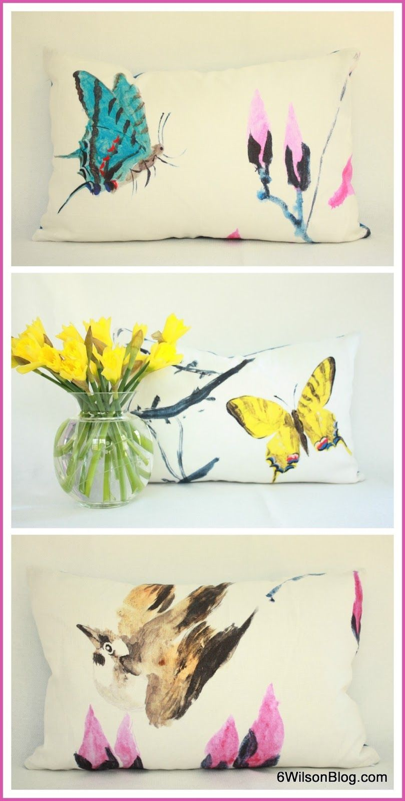Love this touch of art in pillows... Visualizing Spring at