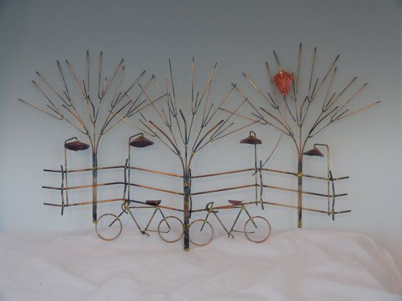 BIKES AND TREES metal sculpturebike, wall decor,metal sculpture