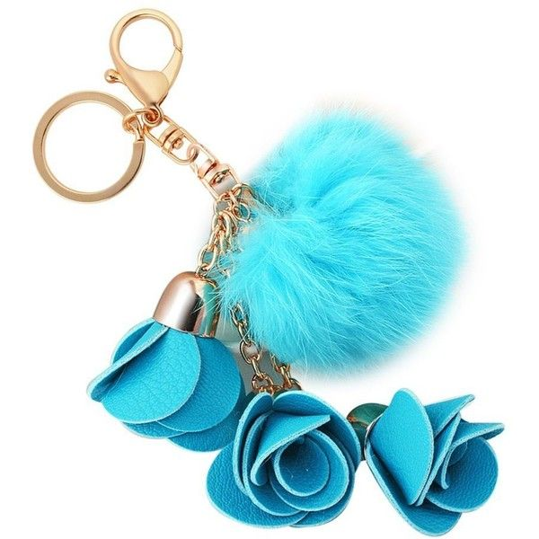 Amazon.com: Creative Fashion Handmade Alloy Lobster Clasp 3 Flowers... ($27) ❤ liked on Polyvore featuring accessories, fur key ring, ring key chain, key chain rings and fur key chain