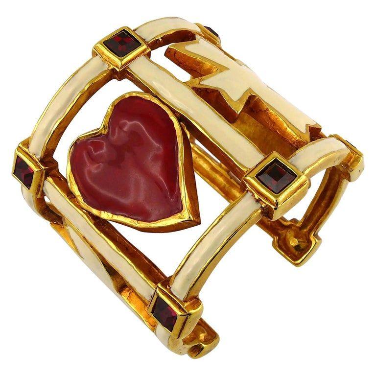 Christian Lacroix Vintage Enamel Emblems Cuff Bracelet In 2021 Cuff Bracelet Christian Lacroix Bracelets