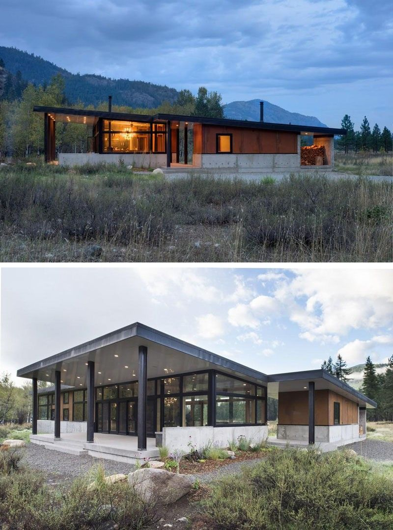 Lieblich 16 Beispiele Für Moderne Häuser Mit Einem Geneigten Dach | Das Schrägdach  Auf Dieses Moderne Haus öffnet Sich Der Hinteren Terrasse Und Geben Sie Ihm  Eine ...