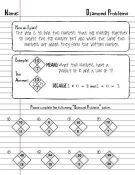 Factoring Trinomials Using Math Diamond Problems Worksheet