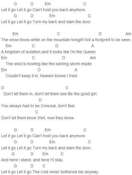 Demi Lovato Let It Go Chords Piano Chords Pinterest Free