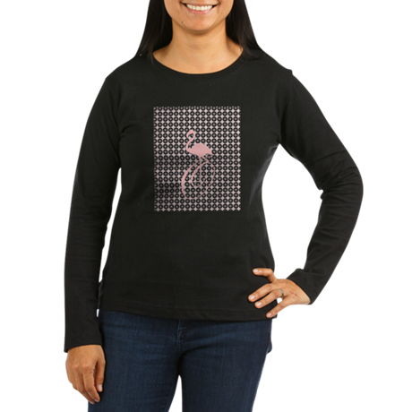 cbc5108a Funny Pink Flamingo Monogram Women's Long Sleeve Dark T-Shirt | T ...