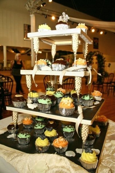 cupcake towers dyi   DIY cupcake tower...I made this for my wedding ...