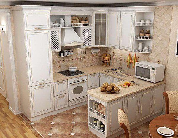 Белая П-образная кухня 14 кв.м в классическом стиле (3 ...