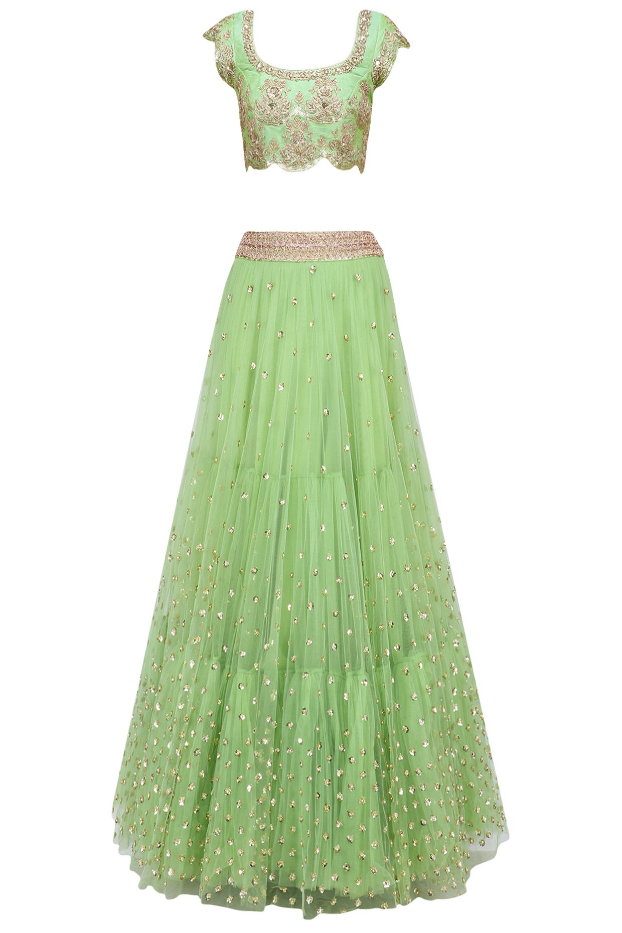 3ba41c2adffe Pista green floral sequins embroidered lehenga set with peach dupatta  available only at Pernia s Pop Up Shop.