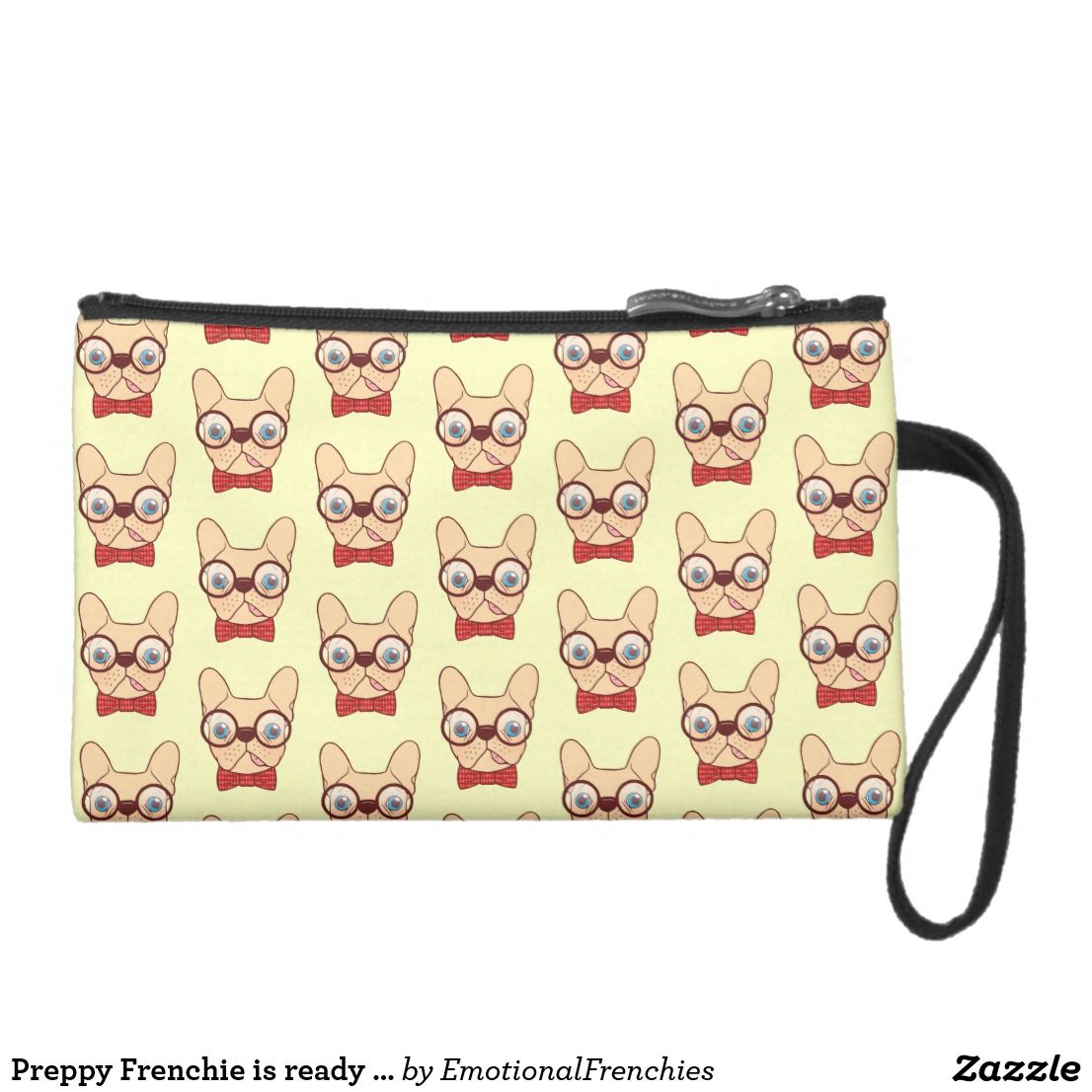 c0290826fffa Preppy Frenchie is ready for school in new bow tie Suede Wristlet ...