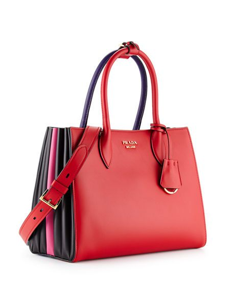 Prada Bibliothèque Medium Colorblock Tote Bag Black Red Bags Shoulder Hand Lining