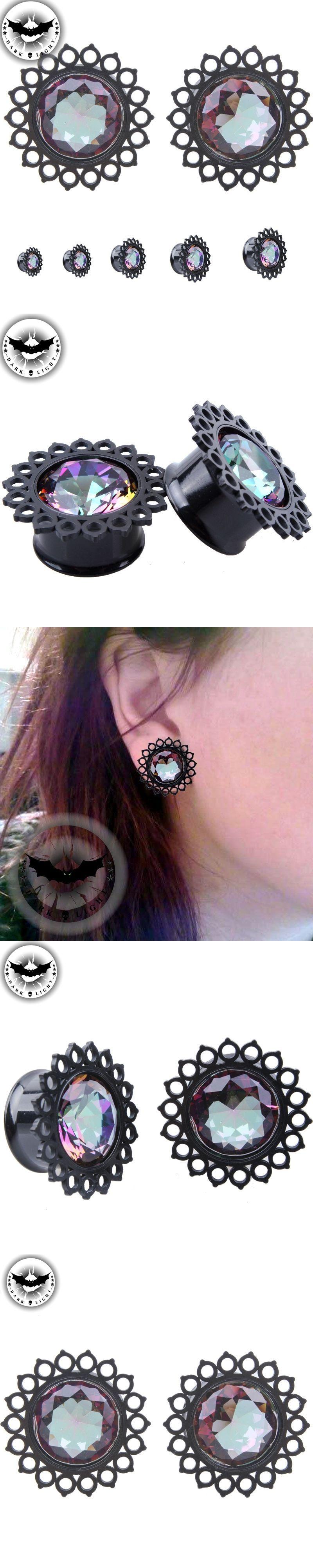 Body piercing earrings  Dark Light  Pair Stainless Steel Flesh Tunnels Ear Plugs Gauges