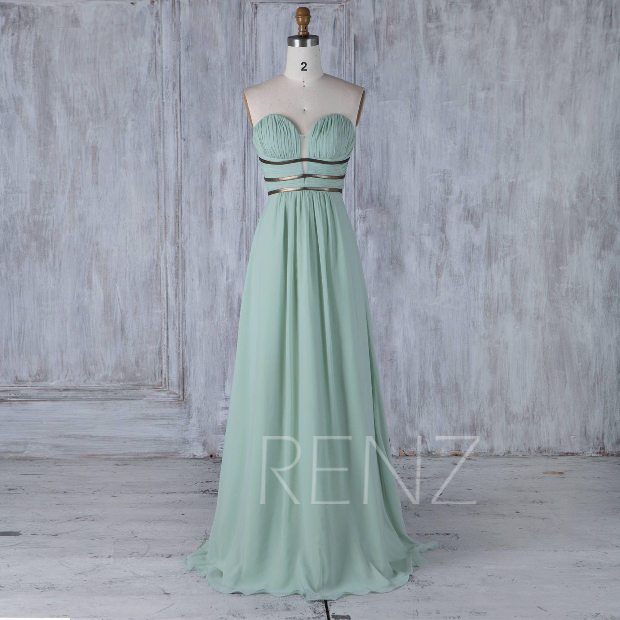 Gold belt for wedding dress  Dusty Mint Chiffon Bridesmaid Dress Ruched Sweetheart Wedding Dress