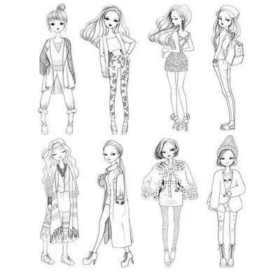 Fashion girl coloring book for Girls Women Relieve Stress Picture ...