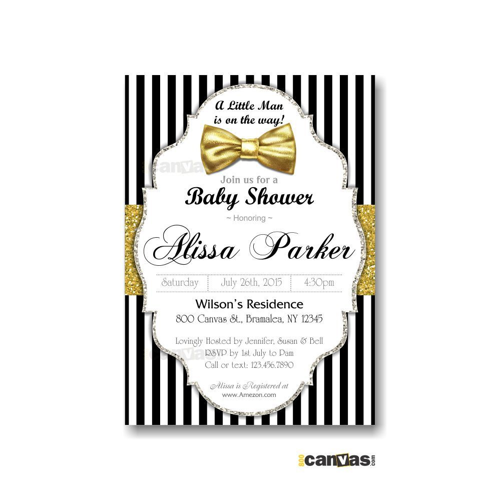 Bow Tie Baby Shower Invitations, Little Man Baby Shower Invite ...