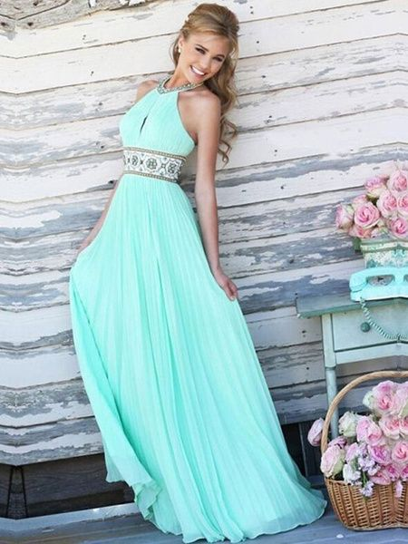d64765fe369d03 Pink Maxi Dress Backless Halter Sash Chiffon Long Prom Dress For ...