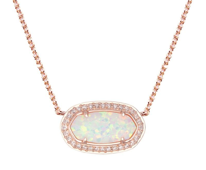 a73ed5a7957f6e Kendra Scott Eloise Pendant Necklace in White Kyocera Opal & Rose Gold