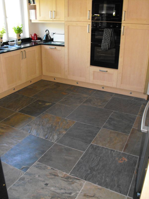 Awesome Slate Kitchen Floor, Pale Cupboards And Even Same Kettle As Mine!