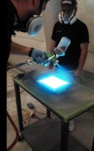 Spraying Electroluminescent Paint With A Real Electric Charge