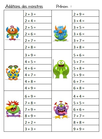 Tables d 39 addition ecole de crevette exercices - Apprendre les tables d addition ...