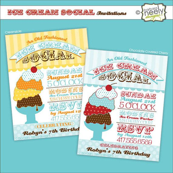Old Fashioned Ice Cream Social Invitations by bndesigns on Etsy